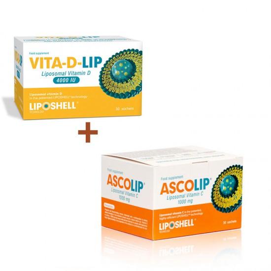 Pachet Promotional - Ascolip Vitamina C + Vita-D-Lip 4000 IU