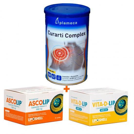 Pachet Articulatii Sanatoase - Curarti+Vitamina C + Vitamina D 4000
