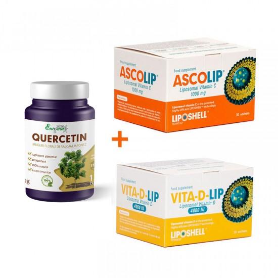 Pachet Promo Quercetin 120 capsule+Ascolip, Vitamina C+Vitamina D 4000 UI