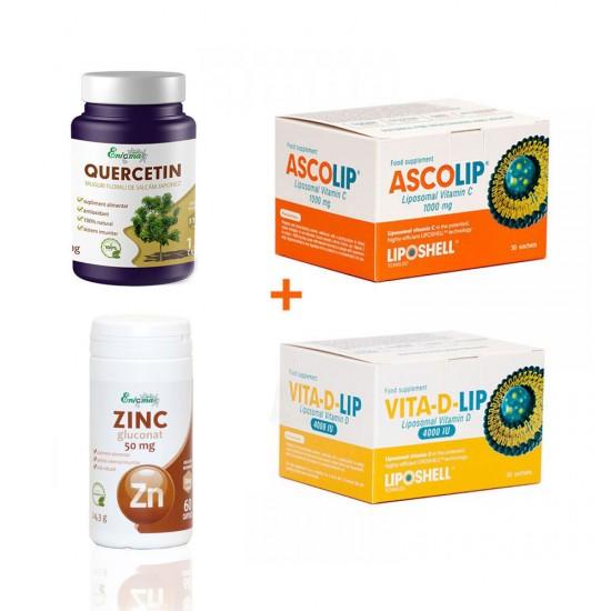 Pachet Imuno - Vitamina C+Vitamina D 4000 ui+Zinc Gluconat 50mg + Quercetina 120cps