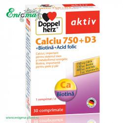 DOPPELHERZ® AKTIV CALCIU 750 + D3 + BIOTINA + ACID FOLIC