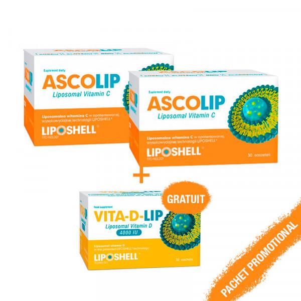 """Pachet promotional """"Duo Ascolip"""" - Vita D Lip 4000 UI Gratuit"""