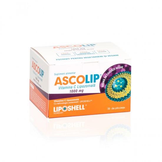 ASCOLIP 1000mg vitamina C Lipozomala, aroma de coacăze - , 30 plicuri